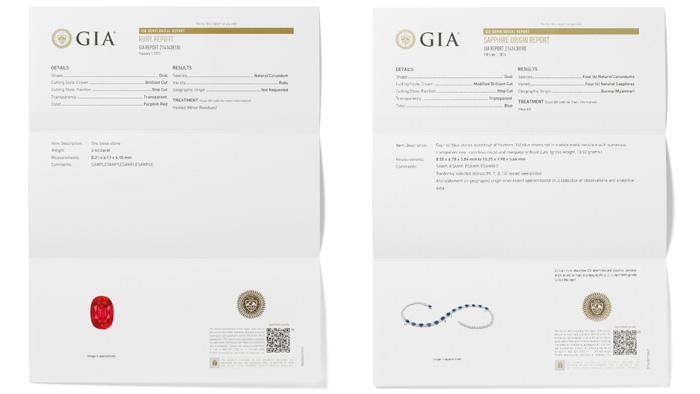 左:GIA鑑別レポートでは、石が天然または合成であるかが説明され、宝石の種類が特定され、検出可能な処理がすべて明記される。 またレポートにはカット、形状、重量、寸法、および色に関する詳細な記述があり、検査対象となった宝石の写真が添えられる。 右:GIA鑑別 および原産地レポートでは、石が天然または合成であるかが説明され、石の地理的な起源についての見解が示されるとともに石の種類が特定され、検出可能な処理がすべて明記される。 またレポートにはカット、形状、重量、寸法、および色に関する詳細な記述があり、検査対象となった宝石の写真が添えられる。