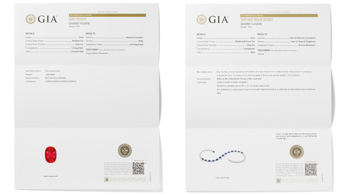Left, The GIA Identification Report describes whether the stone is natural or synthetic, identifies the type of gemstone, and includes any detectable treatments. This report also contains a detailed description of the gemstone such as cut, shape, weight, measurement, and color, and includes a photograph of the gemstone. Right, The GIA Identification & Origin Report describes whether the stone is natural or synthetic, identifies the type of gemstone along with an opinion on the geographic origin of the stone, and includes any detectable treatments. This report also contains a detailed description of the gemstone such as cut, shape, weight, measurement, and color, and includes a photograph of the gemstone.