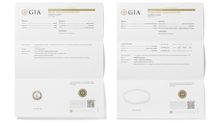 左:GIA真珠鑑別レポートは、数量、重量、形、色、起源(天然または養殖、核生成の種類)、母貝(判定可能な場合)、環境(海水または淡水)および検出可能な処理がすべて記載される。 右:GIA真珠分類レポートには、鑑別レポートのすべての情報の他に、光沢、表面、真珠層の厚さ、照合(該当する場合)の分類が含まれる。