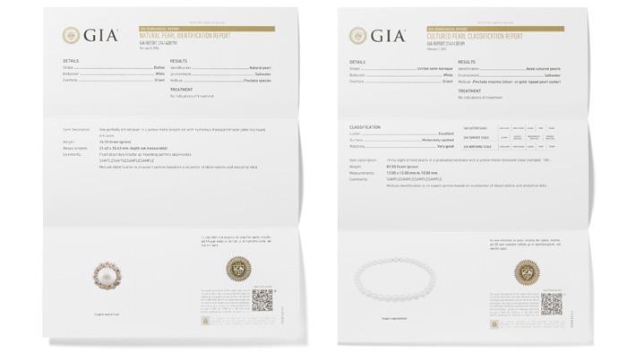 左侧的 GIA 珍珠鉴定报告详细说明了数量、重量、形状、颜色、成因(天然还是人工养殖,以及殖核类型)、软体动物(如可确定)、环境(海水还是淡水),以及所有可检测到的处理手段。 右侧的 GIA珍珠分类报告包括鉴定报告里的所有信息,以及光泽、表面、珍珠层厚度以及匹配性(如适用)的分类。