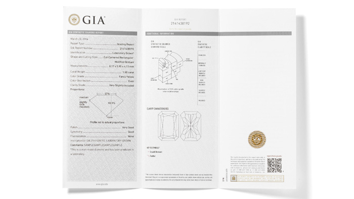 The GIA Synthetic Colored Diamond Grading Report provides the same information as the GIA Colored Diamond Grading report issued for natural diamonds, using a more general description of color and clarity.