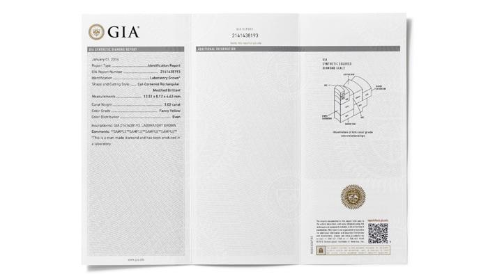 GIA 合成彩色钻石报告描述了彩色合成钻石的颜色等级。