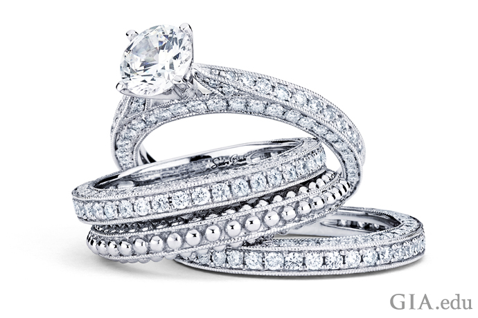 Collection of stackable rings featuring melee diamonds.