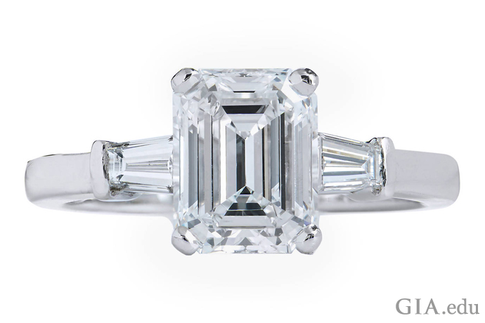 2.01 ct emerald cut diamond engagement ring with tapered baguette accent stones