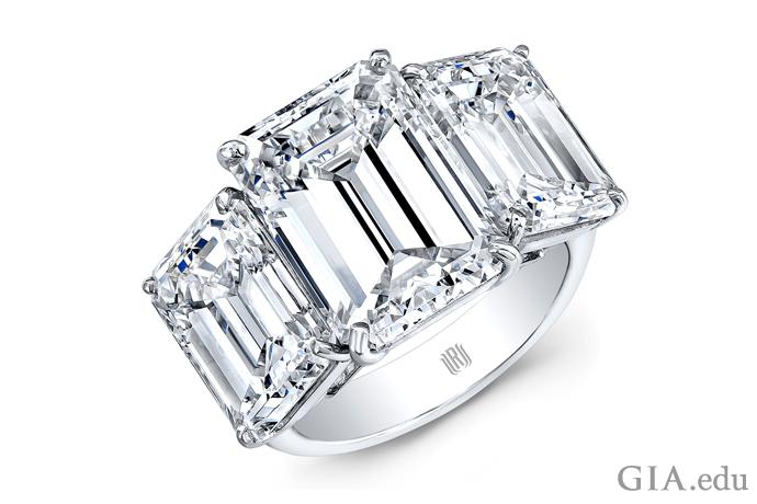 Three-stone diamond engagement ring totaling 15.00 carats.
