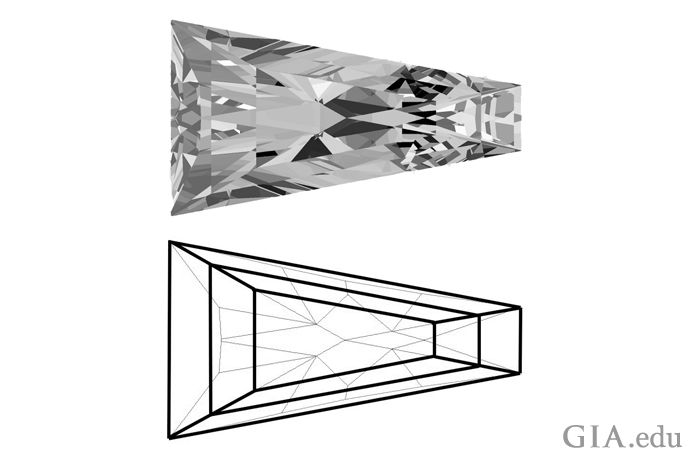 Tapered baguette diamond with brilliant facets and accompanying illustration