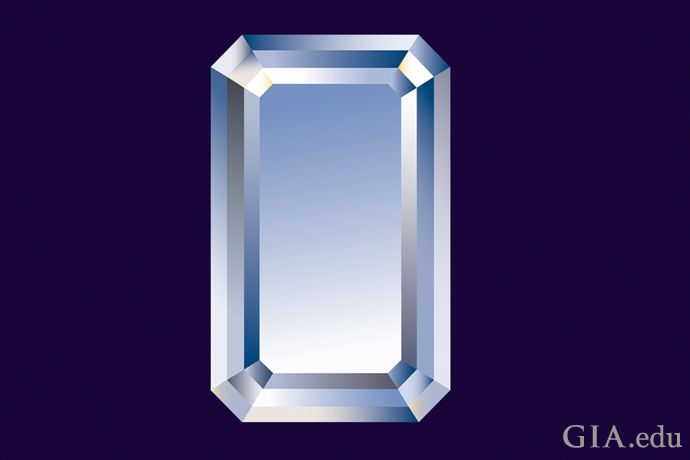 An emerald cut diamond with diagonal corners