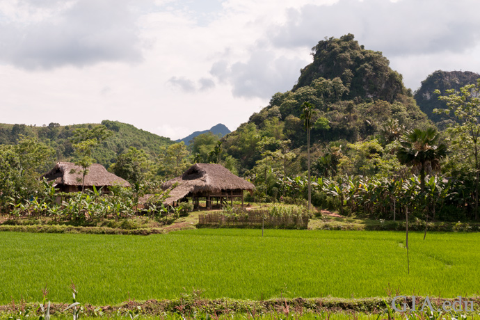 Small village sits at the base of the mountains in the ruby-bearing Luc Yen region.
