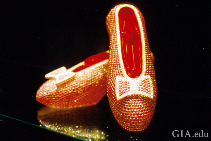 4,600 rubies weighing an estimated 1,350 carats glitter in the slippers; another 50 carats of diamonds accent the unique creation.