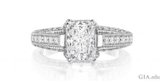 Beautiful 20.04 ct radiant cut diamond set in platinum showcases the excitement of this faceting style.
