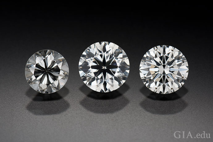 A diamond's cut greatly affects its appearance, as these three round brilliants illustrate.