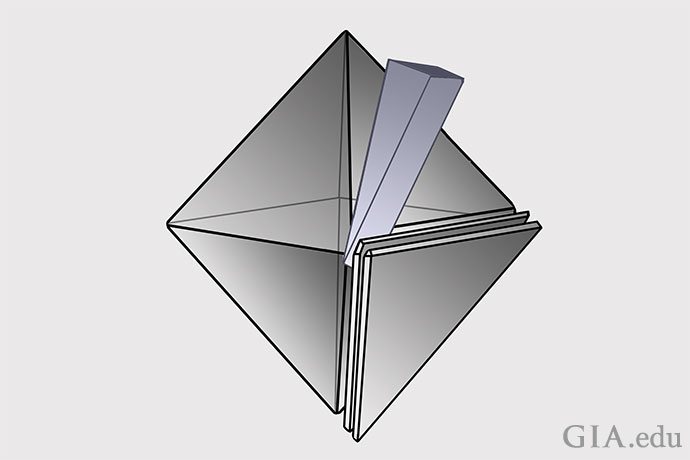 This illustration shows examples of cleavage planes parallel to the triangular octahedral face of a diamond.
