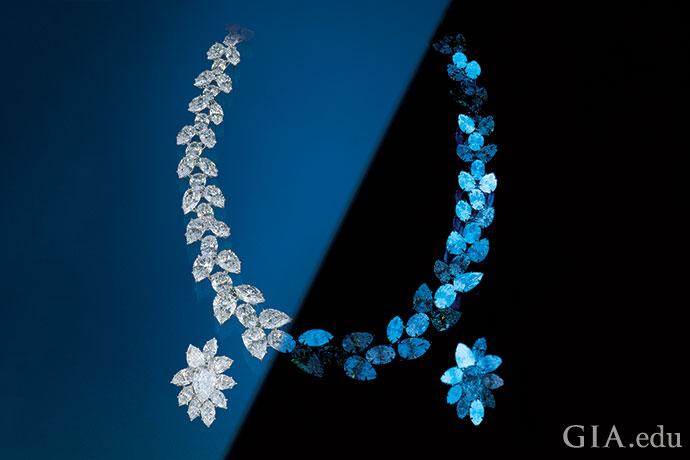 到目前为止,蓝色是钻石在长波紫外线的照射下最常见的荧光颜色。