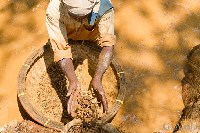 スリランカの鉱山労働者たちは、何世代も前と同じ原始的な洗浄技術を使用して、地元の川で砂利の中からサファイアを探す。