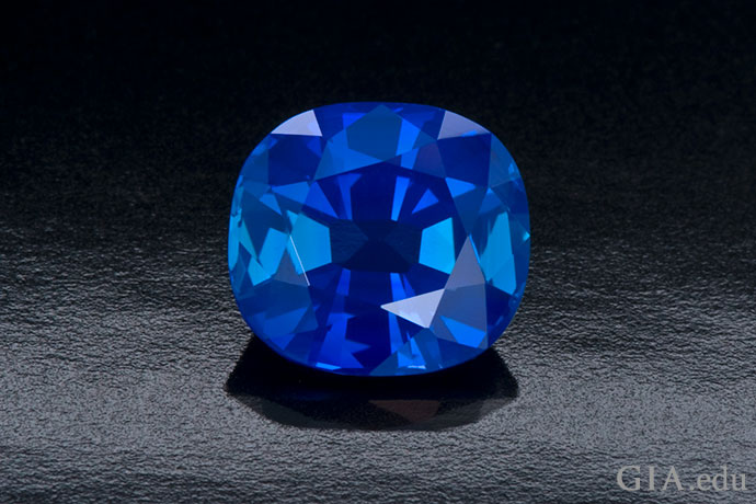 A magical pool … a drop of the sky … a slice of eternity. This 3.08 ct cushion cut Kashmir sapphire conjures such visions.