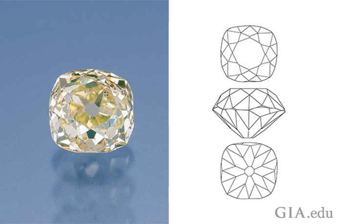 An old mine cut diamond has a distinctive look – especially compared to a round brilliant.