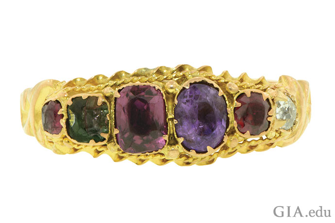 "Ruby, emerald, garnet, amethyst, ruby and diamond spell ""Regard"" in this Victorian-era (circa 1870) acrostic engagement ring."