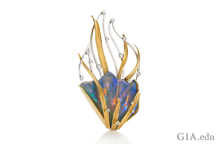 Opal becomes art in this brooch by Barbara Heinrich. The piece is an interpretation of the word fire.
