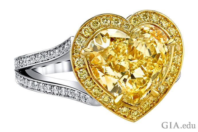 This yellow diamond heart shaped ring might inspire your own design of a Victorian style engagement ring.