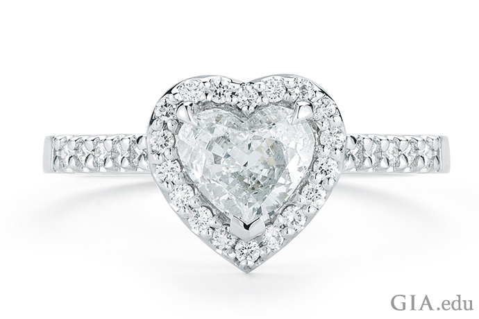 1.03 ct heart-shaped diamond engagement ring. The V-shaped prong at the point helps protect the diamond from damage.