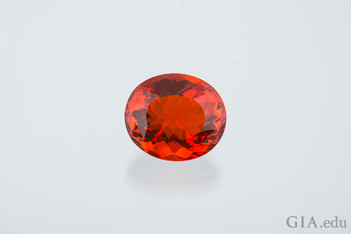 This 9.16 ct fire opal from Mexico has lovely transparency.