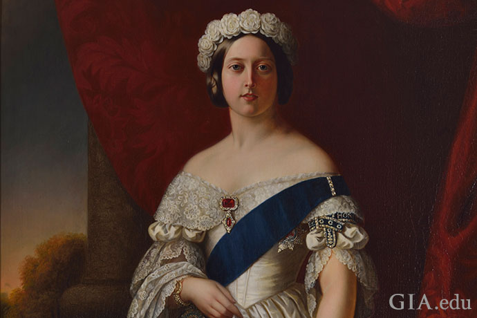 A young Queen Victoria is adorned with jewels and her royal regalia in this portrait by Alexander Melville from 1845.