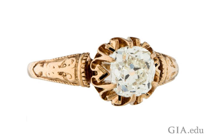 Victorian-era engagement ring featuring a 0.88 carat (ct) old mine cut diamond.