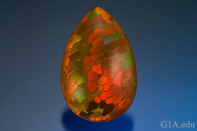 这颗21.14克拉蛋白石产自埃塞俄比亚,游彩无比丰富,备受赞美。
