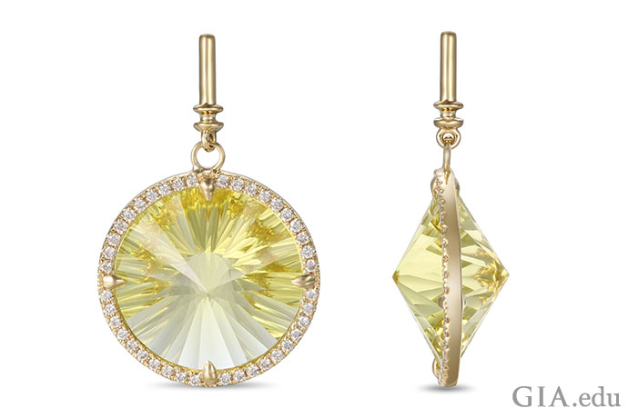 A 15 ct citrine pendant encircled by 0.30 carats of diamonds.