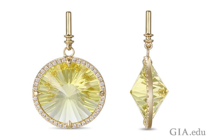 一个饰有15克拉黄水晶的吊坠,0.30克拉的小钻石环绕着黄水晶。