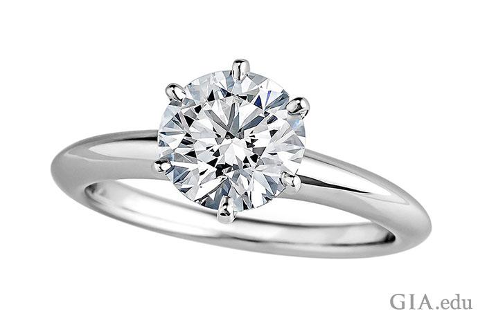 1.37 ct H-color, VS1-clarity round brilliant in a platinum Tiffany & Co. setting.