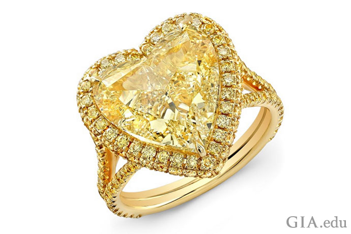 A 7.02 ct fancy yellow heart shaped diamond with 1.08 carats if yellow diamonds in the halo and shank in an 18K gold engagement ring setting.