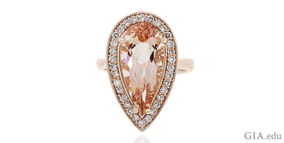 ring oval rose halo engagement diamond morganite gold cut