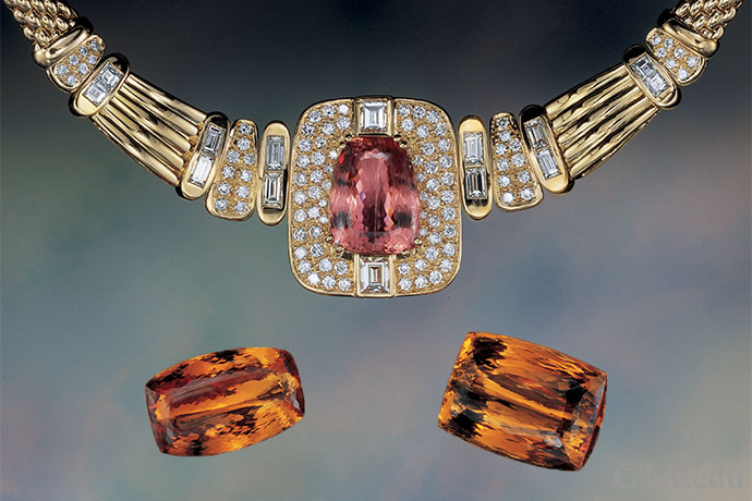 Necklace set with a 24.13 ct fancy-cut topaz and the accompanying 44.11, 71.21 and 66.66 ct loose stones.