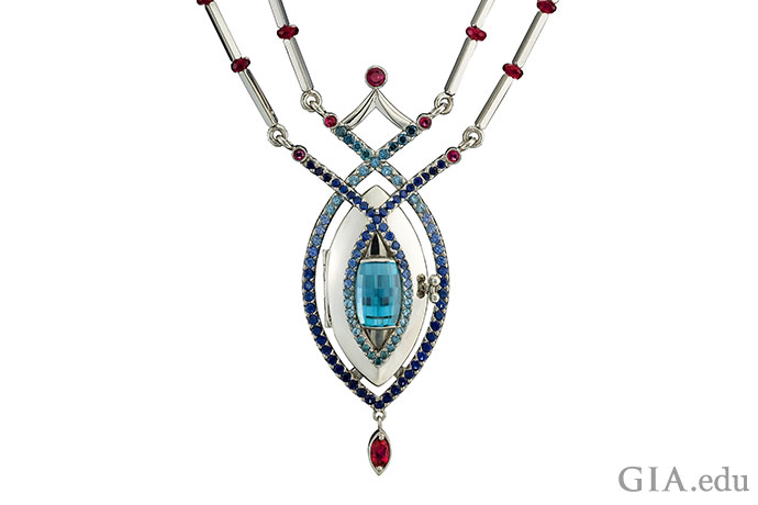 "A blue zircon takes center stage in the ""Reine de Glace"" pendant designed by Lisa Krikawa."
