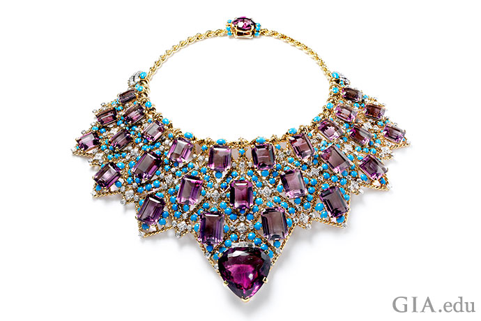 A dazzling display of color, Cartier's bib necklace for the Duchess of Windsor features a sea of turquoise cabochons and faceted amethyst.