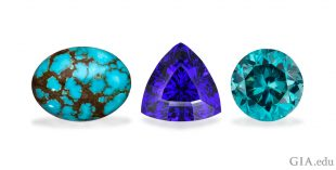 December birthstones: Turquoise cabochon treated by the Eljen process, 8.08 ct., tanzanite, and zircon.
