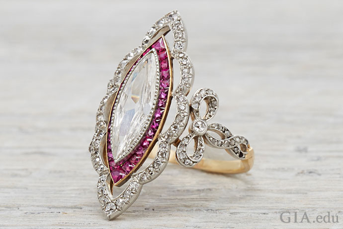 Edwardian era engagement ring accented with diamonds and rubies.