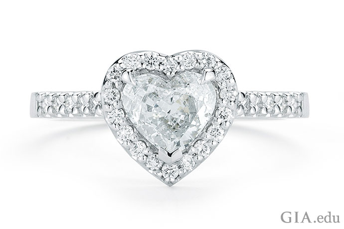 A 1.03 ct heart shaped diamond engagement ring set in platinum.