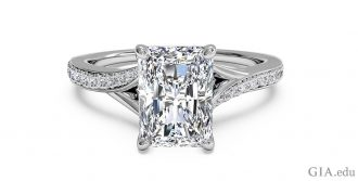 Radiant cut diamond engagement ring set in platinum