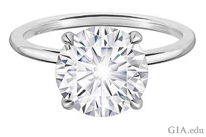 一颗镶嵌在简单戒圈中的2.02克拉(ct)圆形明亮式钻石