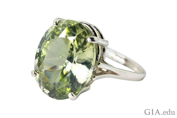 The color of the 14.48 ct zircon in this ring evokes a forest … fields … grassy expanses.