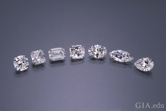 A range of fancy diamond shapes and cuts.