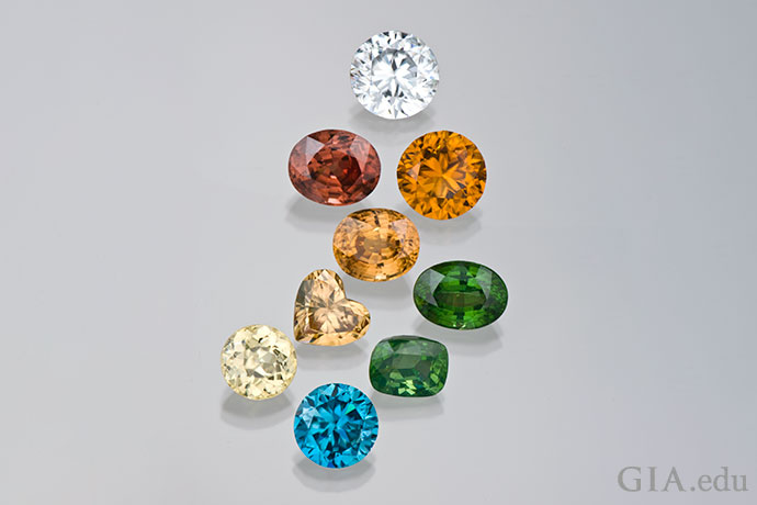 The zircons in this colorful array originate from Sri Lanka, Cambodia, Thailand, Tanzania and other locations.