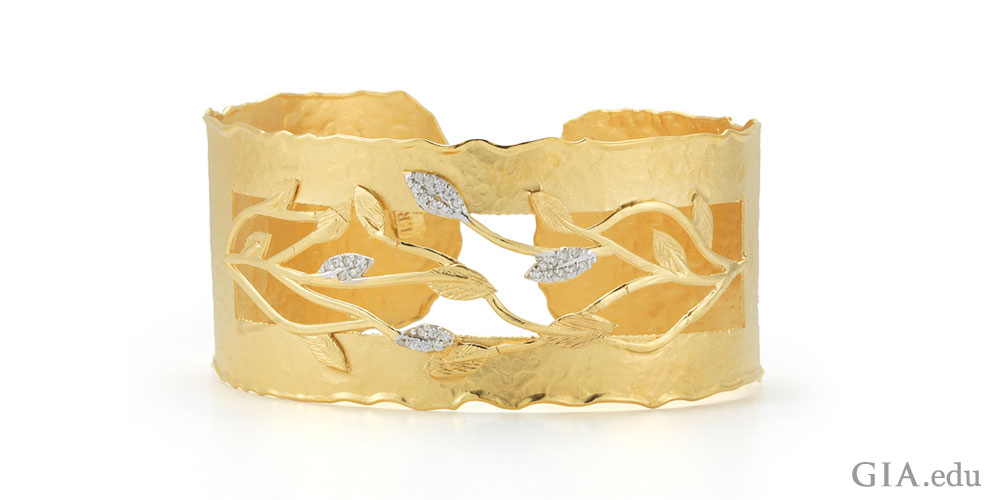 Vine Cuff Bracelet Designed by I.Reiss. Hand-Crafted in 14K Yellow Gold Matte and Hammer-Finished Scallop Edge Vine Cuff Bracelet Enhanced with 0.20 Carat Diamonds.