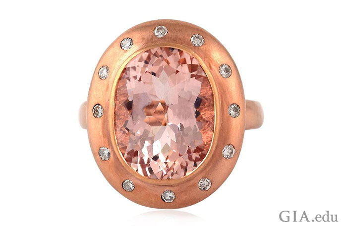 A bezel setting protects this 6.19 ct morganite.