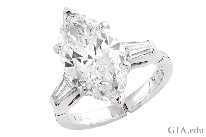 Graced with a stylish shape, the marquise diamond has an appeal that transcends. This sublime stunner features a 3.50 carat (ct) stone.