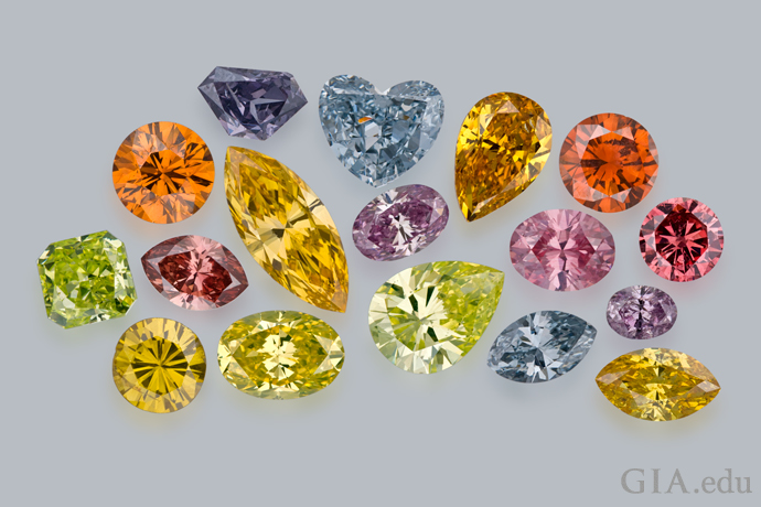 Colored diamonds come in a rainbow of hues.