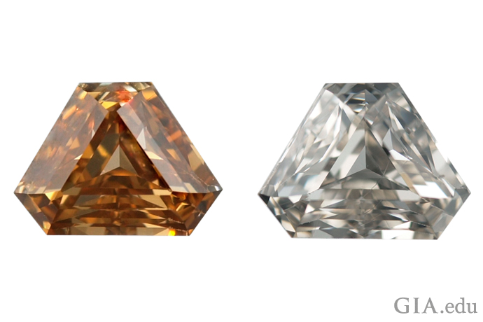 A 6.61 ct Fancy yellow brown diamond (left) before annealing and the same diamond (right), graded L (faint yellow) after annealing.