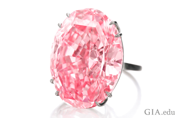 The Pink Star ring, which sold at a Sotheby's auction for $71 million, contains a 59.60 ct Fancy Vivid pink diamond graded by GIA.